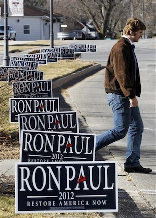 Paul signage in Perry, Iowa (Charles Dharapak/AP)