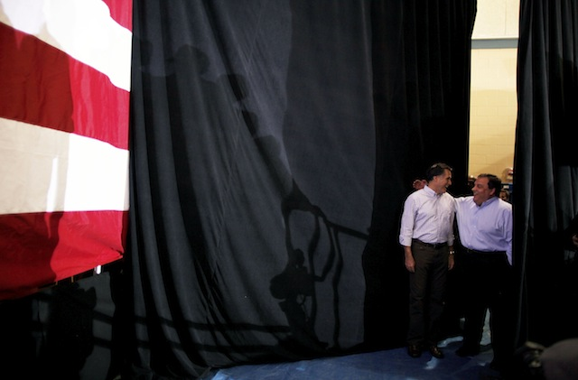Romney and Christie at a campaign event in New Hampshire in January. (Charles Dharapak/AP))
