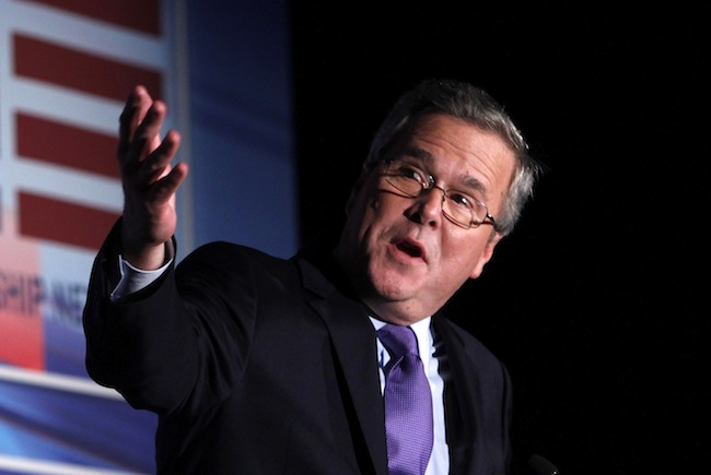 Jeb Bush speaking in Miami in January. (Wilfredo Lee/AP)