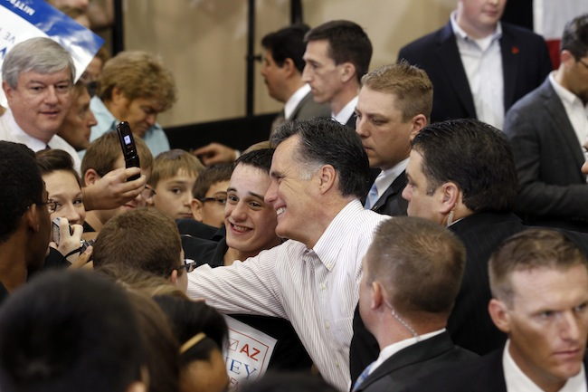 Romney greets supporters in Chandler, Ariz. (Gerald Herbert/AP)