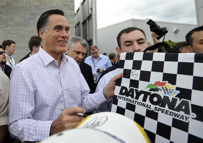 Romney at the Dayton 500 last month. (Rainier Ehrhardt/AP)
