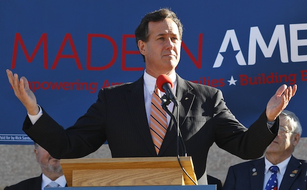 Rick Santorum speaks at a rally in Oklahoma City, Sunday. (Sue Ogrocki/AP)
