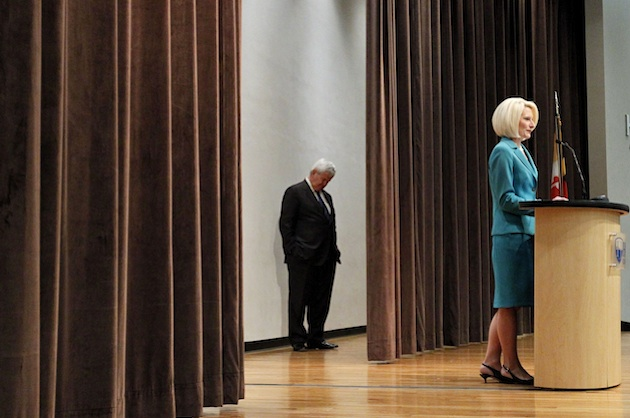 Newt Gingrich listens as wife Callista Gingrich introduces him in Frederick, Md., April 2. (Ann Heisenfelt/AP)