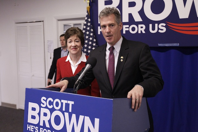 Brown receives an endorsement from Maine Sen. Susan Collins (Stephan Savoia/AP)