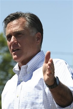 Mitt Romney campaigning in New Hampshire May 18. (Mary Altaffer/AP)
