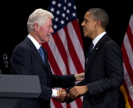 President Barack Obama and former president Bill Clinton at a New York City fundraiser in June.  (Carolyn Kaster/AP)