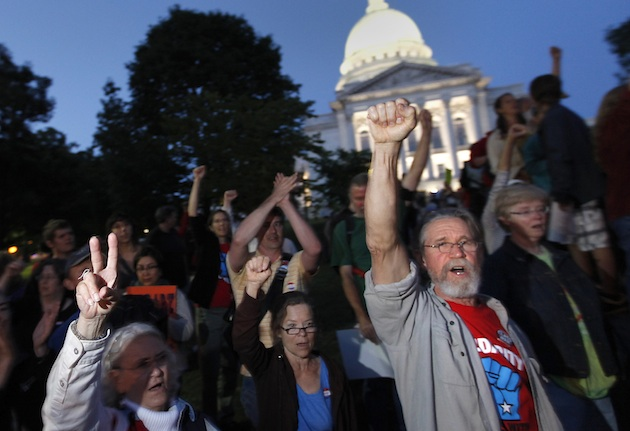 Recall supporters rally despite news of Walker's victory (John Hart/Wisconsin State Journal via AP)