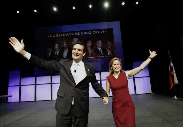 Cruz and wife Heidi Cruz wave to the audience at the state GOP convention June 9 (LM Otero/AP)