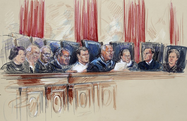 A sketch of the Supreme Court justices on Monday. Scalia is fourth from the left. (Dana Verkouteren/AP)