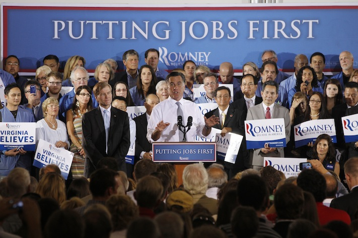 Mitt Romney campaigns with Virginia Gov. Bob McDonnell in Sterling, Va., in late June (Charles Dharapak/AP)
