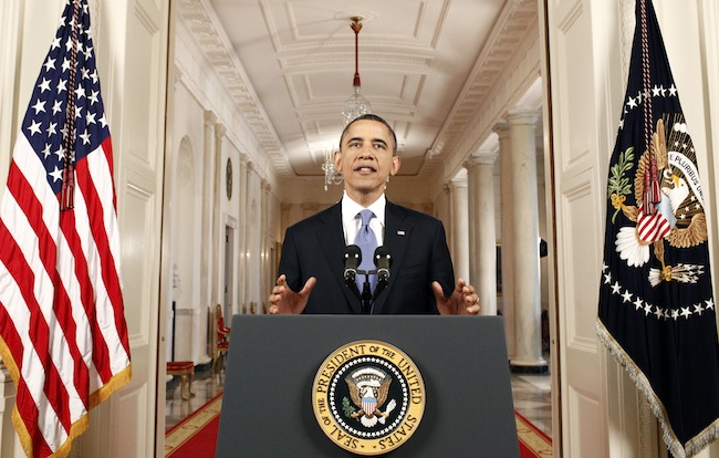 President Barack Obama speaks Thursday after the Supreme Court ruled on his health care legislation. (Luke Sharrett/AP)