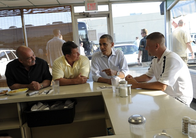President Barack Obama has breakfast in Ohio with workers from a Goodyear facility. (Susan Walsh/AP)