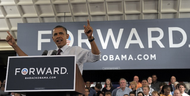 President Barack Obama speaks at a town-hall style rally in Cincinnati (Susan Walsh/AP)
