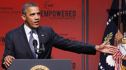 President Barack Obama speaking to the National Urban League Conference in New Orleans on Wednesday (Bill Haber/AP)