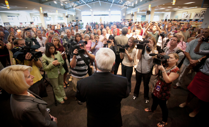 Newt Gingrich greets supporters at a book signing in Naples, Fla. over the weekend. (AP)
