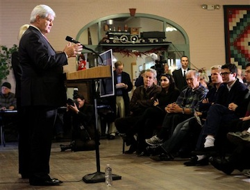 Newt Gingrich speaks during a campaign stop in Plymouth, N.H. (AP)