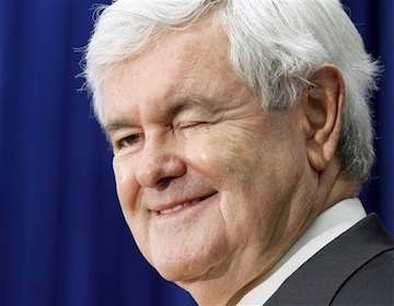 Newt Gingrich winks at a questioner during a campaign stop in Newport, N.H. Friday. (AP)