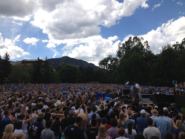 President Barack Obama campaigns at CU Boulder (Olivier Knox)