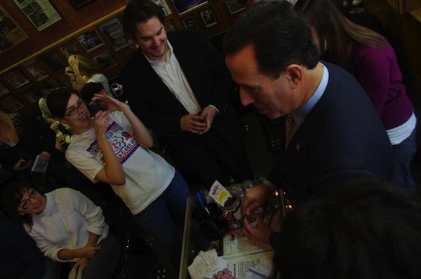 Rick Santorum at the Hamburg Inn. Photo: Mitchell Schmidt / Iowa City Press-Citizen