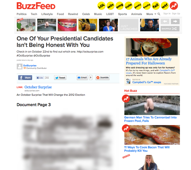 "The now-deleted community post advertising ""October Surprise"" website on Buzzfeed on Thursday afternoon."