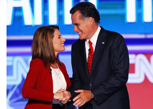 Bachmann and Romney in September (Joe Raedle/Getty Images)