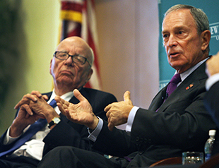Murdoch and Bloomberg in Boston in August 2012 (Boston Globe via Getty Images)