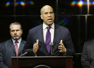 Booker in Newark last month (Mel Evans/AP)