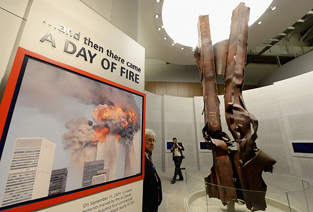 A mangled beam from the World Trade Center on display at the Bush library (Kevork Djansezian/Getty Images