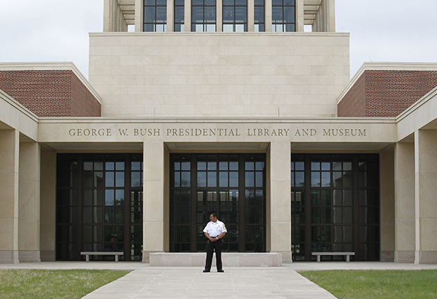 A guard stands outside the Bush library in Dallas (Ron T. Ennis/Fort Worth Star-Telegram via Getty Images)