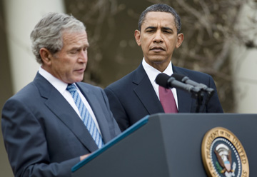 (Photo of Bush and Obama: Brendan Smialowski/Getty Images)