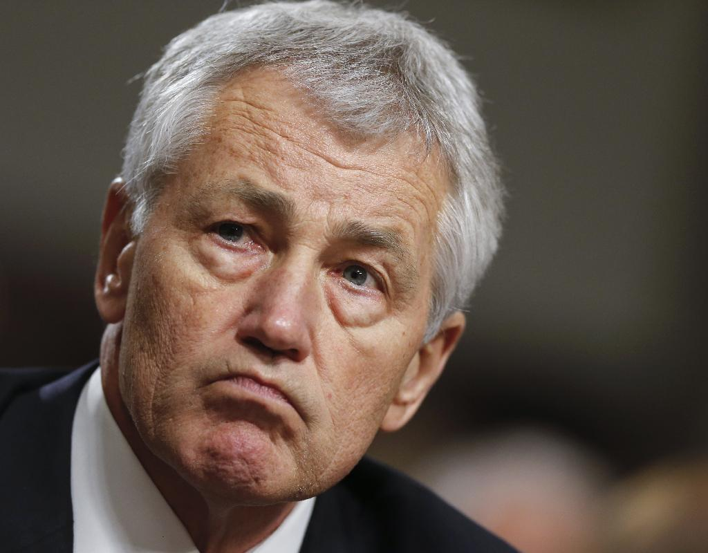 Former Nebraska Sen. Chuck Hagel testifies on Capitol Hill before the Senate Armed Services Committee's confirmation hearing. (J. Scott Applewhite/AP)