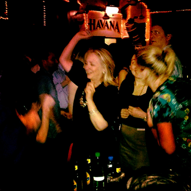 Clinton dancing at Cafe Havana, April 15, 2012. (AFP)