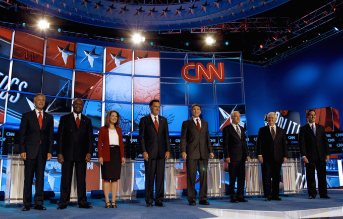 Republican candidates at CNN's first debate of the 2012 campaign. (AP/CNN)