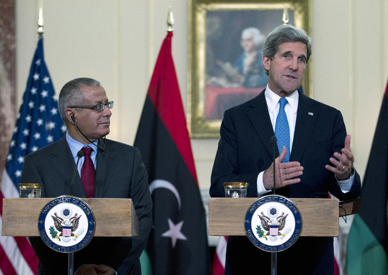 Secretary of State John Kerry and Libyan Prime Minister Ali Zeidan speak to reporters during their joint news conference in Washington. (Jose Luis Magana/AP)