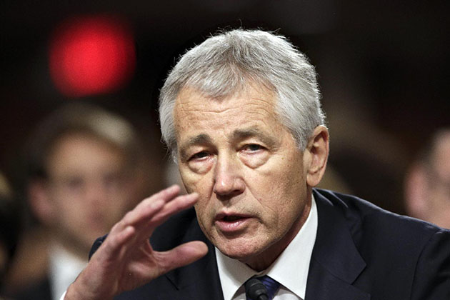 Republican former Sen. Chuck Hagel testifies before a Senate committee in January. (J. Scott Applewhite/AP)