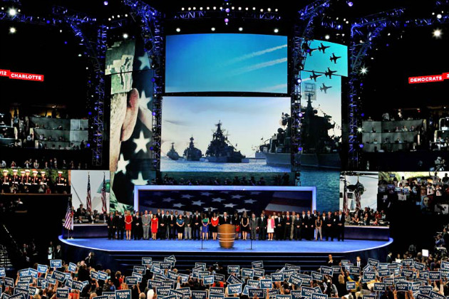 Retired Adm. John Nathman speaks onstage with military veterans at the Democratic National Convention, Sept. 6. (Alex Wong/Getty)