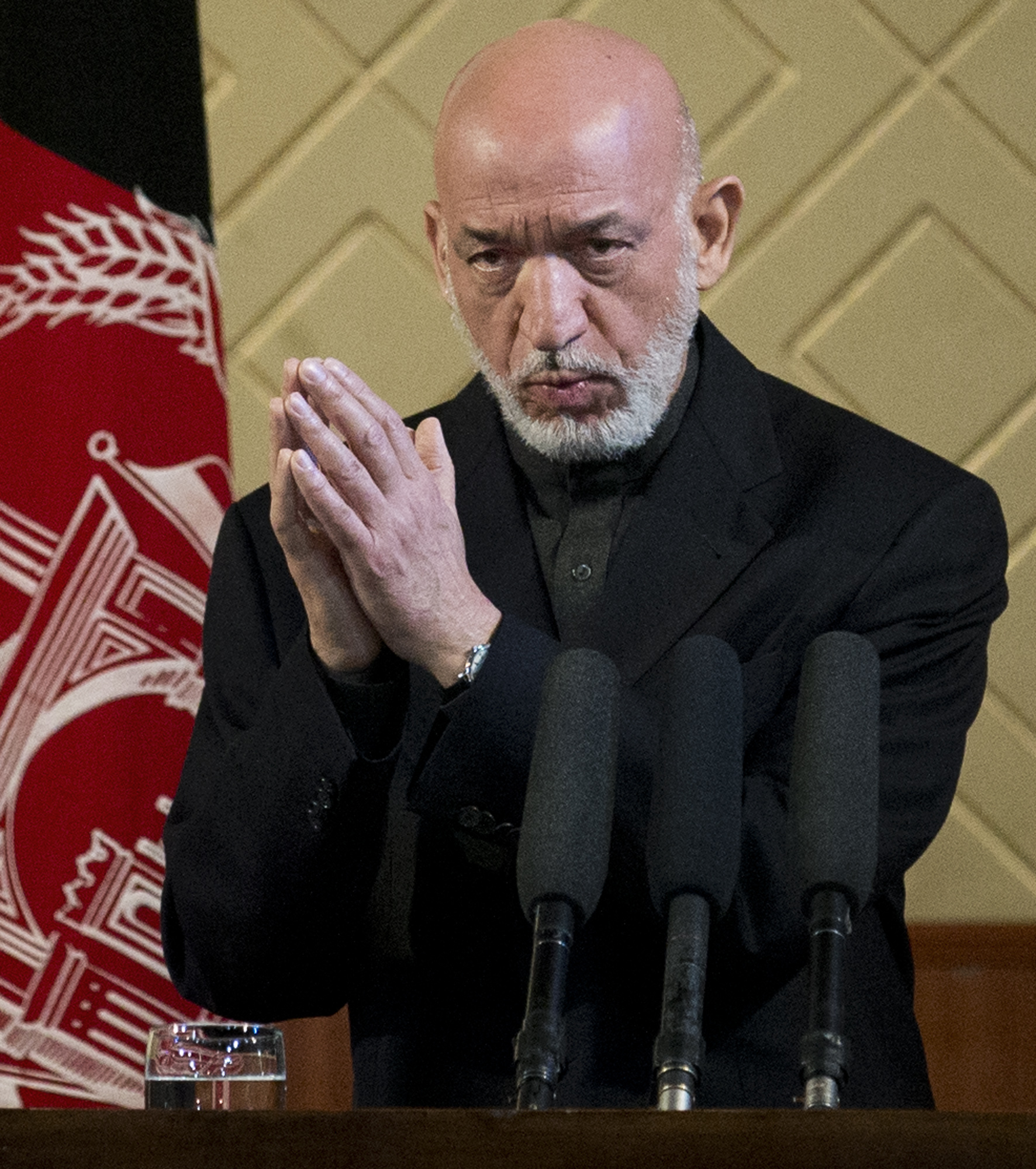Afghan President Hamid Karzai during a ceremony at Kabul University on May 9. (Anja Niedringhaus/AP)