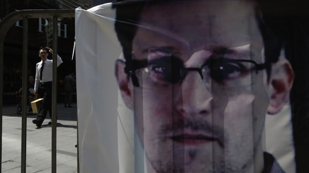 An Edward Snowden banner is displayed in Hong Kong. (Kin Cheung/AP)