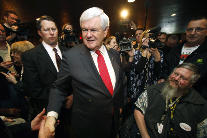 Gingrich on the trail. (AP/Charlie Neibergall)