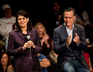 Nikki Haley and Mitt Romney in Charleston (Richard Ellis/Getty Images)