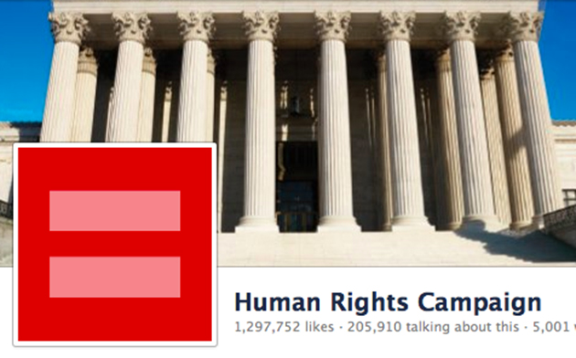 The Human Rights Campaign's new red logo (via Facebook)