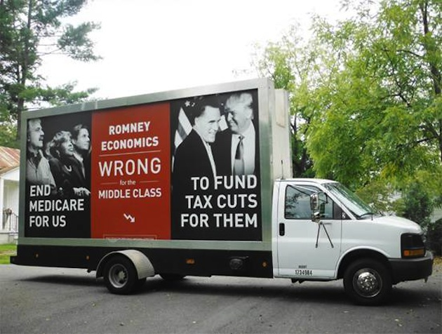 Democrats deploy traveling billboard to Tampa featuring photo of Romney and Trump