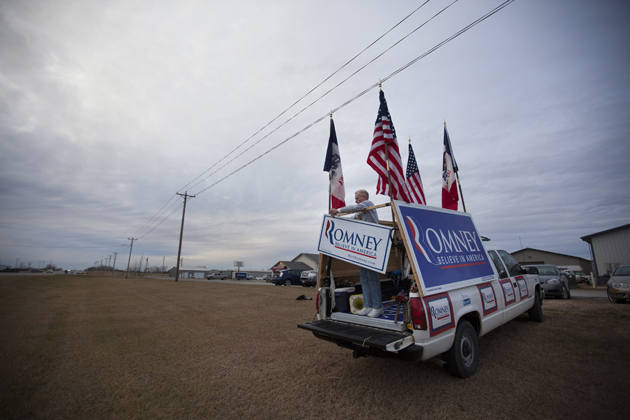 Jim Wilson and his old truck earlier this year in Iowa (Evan Vucci/AP)