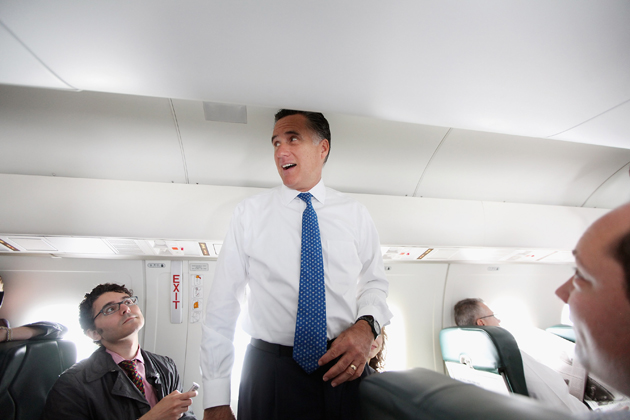 Romney on his campaign plane (Mario Tama/Getty Images)