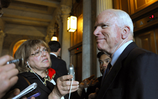 McCain speaks to reporters on Capitol Hill (Susan Walsh/AP)