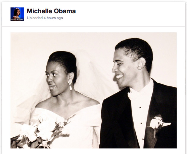 Michelle and Barack Obama at their wedding in 1992 (Pinterest)
