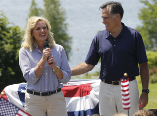 Ann and Mitt Romney in New Hampshire (Charles Dharapak/AP)