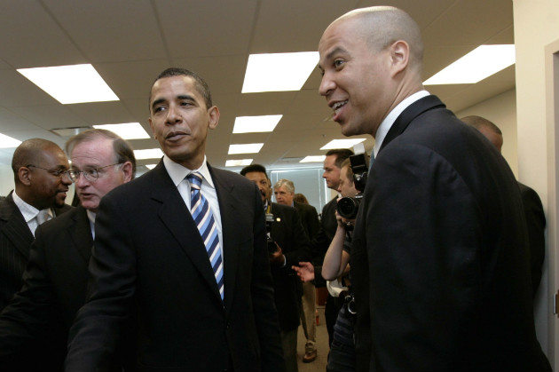 Obama with Booker, right, after Booker endorsed the then-senator for president, May 14, 2007. (AP/File)