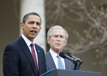 Obama and Bush in 2010 (Photo by Brendan Smialowski/Getty Images)
