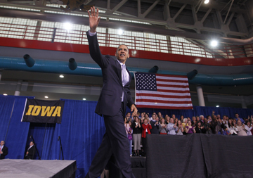 Obama in Iowa City in 2010 (Charles Dharapak/AP)